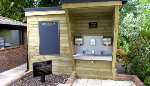 External garden hand wash station country pub